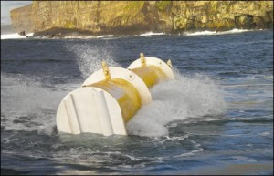 The Oyster wave power machine swings back and forth with the waves
