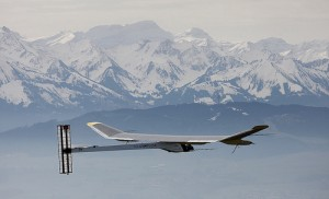 The solar-powered Solar Impulse HB-SIA prototype airplane during his first flight.
